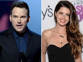 Chris Pratt and Katherine Schwarzenegger. (Kevin Winter/Getty Images/Michael Kovac/Getty Images for Macy's)
