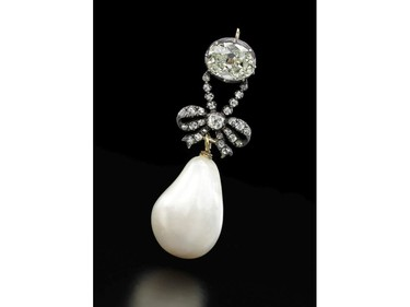 This undated handout photo released by Sotheby's Geneva shows a diamond and natural pearl pendant that once belonged to Marie Antoinette, expected to sell for US$1-2 million.