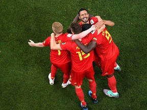Nacer Chadli of Belgium celebrates after scoring his team's third goal with team mates during the 2018 FIFA World Cup Russia Round of 16 match between Belgium and Japan at Rostov Arena on July 2, 2018 in Rostov-on-Don, Russia.  (Shaun Botterill/Getty Images)