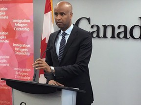 Ahmed Hussen, the federal minister of Immigration, Refugees and Citizenship, speaks during a press conference in Halifax on Monday, July 9, 2018.