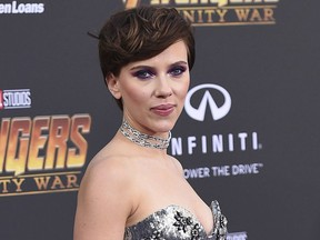 """In this April 23, 2018 file photo, Scarlett Johansson arrives at the world premiere of """"Avengers: Infinity War"""" in Los Angeles."""