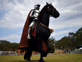 Australian jouster Phillip Leitch gets ready on the back of his horse for the inaugural World Jousting Championship at the St Ives Medieval Faire in Sydney on September 23, 2017. (Saeed Khan/Getty Images)