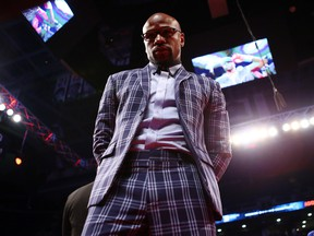Floyd Mayweather looks on prior to the WBC Light Heavyweight title fight between Adonis Stevenson and Badou Jack at Air Canada Centre on May 19, 2018 in Toronto, Canada. (Vaughn Ridley/Getty Images)