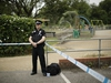"""A British police officer guards a cordon outside the Queen Elizabeth Gardens park in Salisbury, England, Wednesday, July 4, 2018. British police have declared a """"major incident"""" after two people were exposed to an unknown substance in a town near where a former Russian spy and his daughter were poisoned with nerve agent. (AP Photo/Matt Dunham)"""