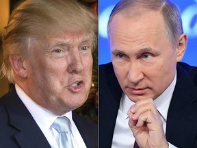This combination of file pictures created on December 30, 2016 shows a file photo taken on December 28, 2016 of US President-elect Donald Trump (L) in Palm Beach, Florida; and a file photo taken on December 23, 2016, of Russian President Vladimir Putin speaking in Moscow. (Getty Images)