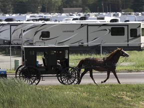 An Amish family rides their horse and buggy past a storage lot for recreational vehicles in Goshen, Ind., on Friday, June 1, 2018. (AP Photo/Charles Rex Arbogast)