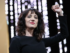 Italian actress Asia Argento gestures on stage on May 19, 2018 during the closing ceremony of the 71st edition of the Cannes Film Festival in Cannes, France. (VALERY HACHE/AFP/Getty Images)