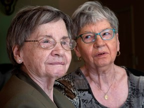 Cecile Dionne, left, and her sister Annette are seen Thursday, May 18, 2017 in St-Bruno, Que.