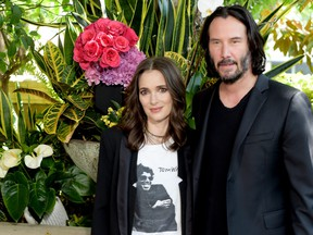 """Winona Ryder and Keanu Reeves attend a photo call for Regatta's """"Destination Wedding"""" at the Four Seasons Hotel Los Angeles at Beverly Hills on August 18, 2018 in Los Angeles, Calif.  (Kevin Winter/Getty Images)"""