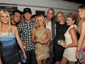 """Stephanie Pratt, Frankie Delgado, Brody Jenner, Kristin Cavallari, Show creator/executive producer Adam Divello, Executive Producer Liz Gateley, Lauren Bosworth and Whitney Port pose during MTV's """"The Hills Live: A Hollywood Ending"""" Finale event held at The Roosevelt Hotel on July 13, 2010 in Hollywood, California."""