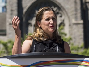 Foreign Affairs Minister Chrystia Freeland speaks at a press conference in Vancouver, B.C. on Monday, August 6, 2018. THE CANADIAN PRESS/Jimmy Jeong