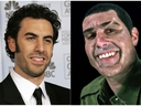 This combination photo shows Sacha Baron Cohen at the 64th Annual Golden Globe Awards in Beverly Hills, Calif., on  Jan. 15, 2007, left, and Cohen portraying retired Israeli Colonel Erran Morad in a still from the Showtime series,
