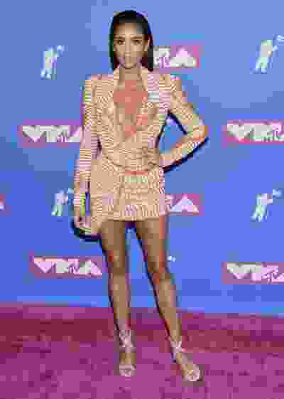 Shay Mitchell arrives at the MTV Video Music Awards at Radio City Music Hall on Monday, Aug. 20, 2018, in New York. (Evan Agostini/Invision/AP)