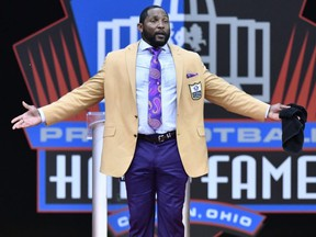 Former Ravens linebacker Ray Lewis delivers his induction speech at the Pro Football Hall of Fame on Saturday, Aug. 4, 2018, in Canton, Ohio.