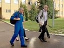 Canadian astronaut David Saint-Jacques heads back to his quarters at end of the day of training at the Gagarin Cosmonaut Training Center in Star City, Russia, on Thursday, Aug. 16, 2018.