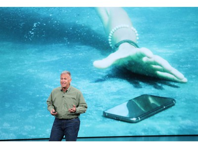 Phil Schiller, senior vice-president of worldwide marketing at Apple Inc., speaks at an Apple event at the Steve Jobs Theater at Apple Park on Sept. 12, 2018 in Cupertino, Calif.