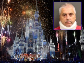 Gregory Lazarchick, 56, (inset) is accused of threatening to blow up Disney World on order of al-Qaida. (Orange County Jail/HO/Todd Anderson/Disney Parks via Getty Images)