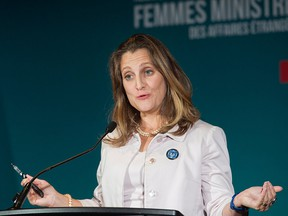 Foreign Affairs Minister Chrystia Freeland speaks at a news conference during a meeting of Women Foreign Ministers in Montreal, Saturday, Sept. 22, 2018.