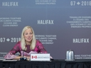 Canadian Environment Minister Catherine McKenna delivers opening remarks as the G7 environment, oceans and energy ministers meet in Halifax on Wednesday, Sept. 19, 2018.