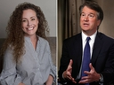 The U.S. Senate Judiciary Committee is reviewing allegations by Julie Swetnick (L), accusing Supreme Court nominee Brett Kavanaugh (R) of sexual misconduct, a panel spokesman said. (Michael Avenatti via AP/AP Photo/Jacquelyn Martin)