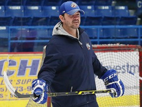 Coach Dave Matsos, then with the Sudbury Wolves, looks on during a practice at the Sudbury Community Arena in Sudbury, Ont. on Wednesday February 8, 2017. (Postmedia Network file photo)