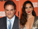 This combination photos shows Shane Black, left, and Olivia Munn at the screening of