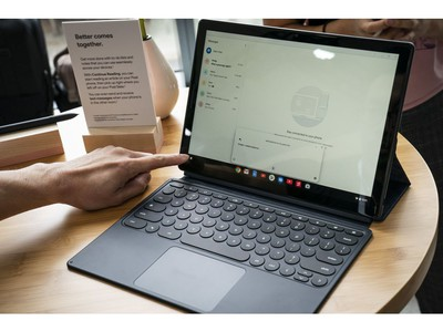 The new Pixel Slate tablet is displayed during a Google product release event, Oct. 9, 2018 in New York City.