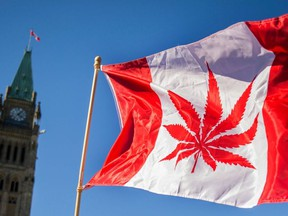 (FILES) In this file photo taken on April 20, 2016 A woman waves a flag with a marijuana leef on it next to a group gathered to celebrate National Marijuana Day on Parliament Hill in Ottawa, Canada. - Nearly a century of marijuana prohibition came to an end Wednesday, October 17, 2018, as Canada became the first major Western nation to legalize and regulate its sale and recreational use.