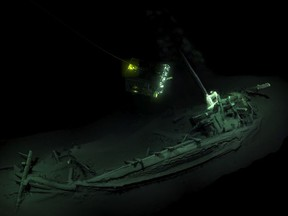 An undated handout picture released by Black Sea MAP/EEF Expeditions in London on October 23, 2018, shows the remains of an ancient Greek trading ship laying on the sea bed at the bottom of the Black Sea near Bulgaira.
