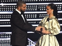 Drake presents Rihanna with the The Video Vanguard Award during the 2016 MTV Video Music Awards at Madison Square Garden on August 28, 2016 in New York City. (Michael Loccisano/Getty Images)