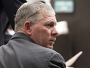 In this Dec. 3, 2012 file photo, Lenny Dykstra sits during his sentencing for grand theft auto in Los Angeles.