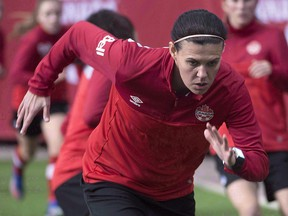 Christine Sinclair and members of the Canadian women's soccer team practice at B.C. Place, in Vancouver on Friday, Feb. 3, 2017. (THE CANADIAN PRESS/Jonathan Hayward)