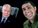 This image released by Showtime shows former Vice President Dick Cheney, left, and actor Sacha Baron Cohen, portraying retired Israeli Colonel Erran Morad in a still from