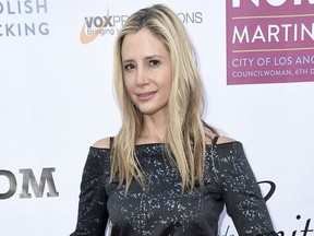 """FILE- In this May 10, 2018, file photo Mira Sorvino attends the 20th Annual From Slavery to Freedom Gala at City Market Social House in Los Angeles. Sorvino believes the key to eradicating sexual misconduct lies more in preventative education than in """"naming and shaming"""" the perpetrators. The Oscar-winning actress was one of the first to come forward with allegations of abuse against movie mogul Harvey Weinstein, and her resilience has not wavered."""