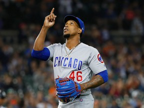 In this Aug. 22, 2018 file photo Chicago Cubs relief pitcher Pedro Strop celebrates the final out of the eighth inning of the team's baseball game against the Detroit Tigers in Detroit.