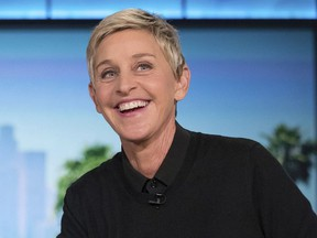 """In this Oct. 13, 2016, file photo, Ellen Degeneres appears during a commercial break at a taping of """"The Ellen Show"""" in Burbank."""
