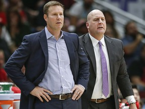 In this Oct. 21, 2017, file photo, Chicago Bulls head coach Fred Hoiberg, left, and assistant Jim Boylen, right, look on from the sidelines during a game against the San Antonio Spurs, in Chicago. (AP Photo/Kamil Krzaczynski, File)