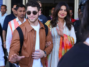 U.S. musician Nick Jonas and  Indian actress Priyanka Chopra arrive in Jodhpur in the western Indian state of Rajasthan on Nov. 29, 2018.