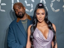 Kanye West and Kim Kardashian West attend the the Versace fall 2019 fashion show at the American Stock Exchange Building in lower Manhattan on Dec. 2, 2018. (Roy Rochlin/Getty Images)