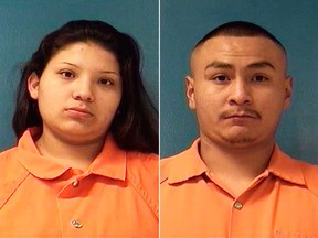 Booking photos provided by McKinley County Adult Detention Center show Shayanne Nelson and her boyfriend Tyrell Bitsilly. (McKinley County Adult Detention Center photos via AP)