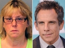 Joyce Mitchell and Ben Stiller are seen in the combination shot. (New York State Police via AP/Ivan Nikolov/WENN.com)