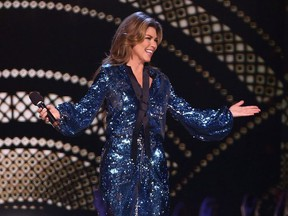 Shania Twain accepts the CCMA Generation Award at the Canadian Country Music Awards in Hamilton, Ont. on Sunday, September 9, 2018.