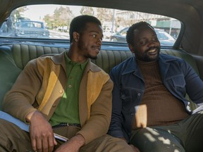"""This image released by Annapurna Pictures shows Stephan James, left, and Brian Tyree Henry in a scene from """"If Beale Street Could Talk."""""""