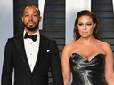 Justin Ervin and Ashley Graham attend the 2018 Vanity Fair Oscar Party hosted by Radhika Jones at Wallis Annenberg Center for the Performing Arts on March 4, 2018 in Beverly Hills, Calif. (Dia Dipasupil/Getty Images)