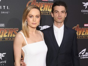 Brie Larson and musician Alex Greenwald attend the Los Angeles Global Premiere for Marvel Studios? Avengers: Infinity War on April 23, 2018 in Hollywood, Calif.  (Jesse Grant/Getty Images for Disney)
