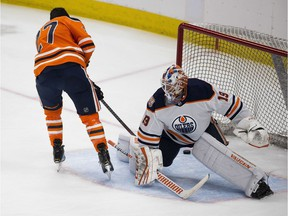 Milan Lucic scores on goalie Mikko Koskinen during king of the shootout at the Oilers skills competition on Sunday, Jan. 13, 2019 in Edmonton.