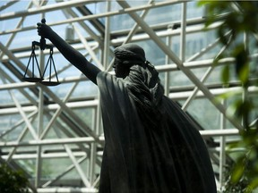 The Scales of Justice statue at B.C. Supreme Court in Vancouver.