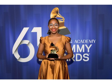 LOS ANGELES, CA - FEBRUARY 10:  Cécile McLorin Salvant poses with her award at the 61st Annual GRAMMY Awards Premiere Ceremony at Microsoft Theater on February 10, 2019 in Los Angeles, California.