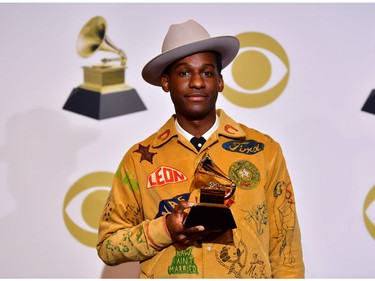 """US singer Leon Bridges poses in the press room for Best Traditional R and B Performance """"Bet Ain't Worth The Hand"""" during the 61st Annual Grammy Awards on February 10, 2019, in Los Angeles."""