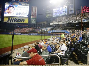 In this July 14, 2017 file photo fans watch from behind a net during the third inning of a game between the New York Mets and the Colorado Rockies in New York.